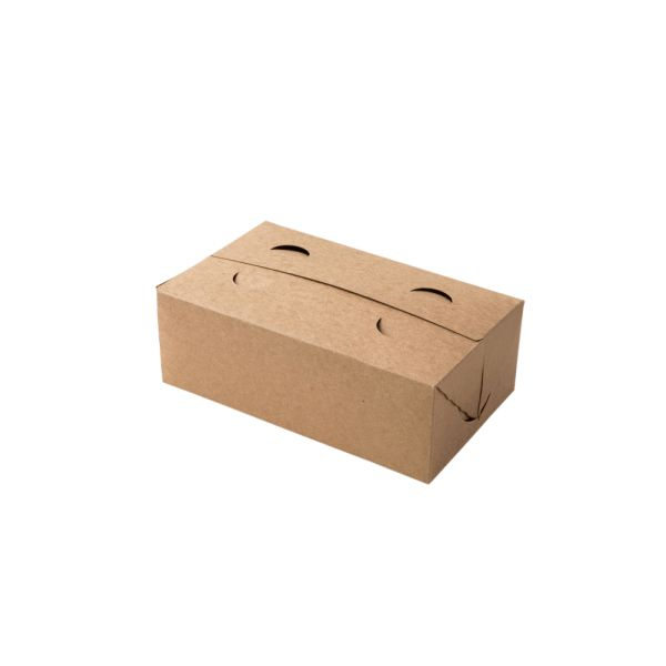 Braune Take Away Faltbox, 17,5 x 10,5 x 6 cm